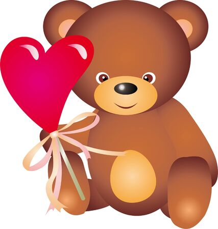 plush: Teddy Bear with Heart vector