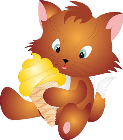 eating ice cream: Cat vector