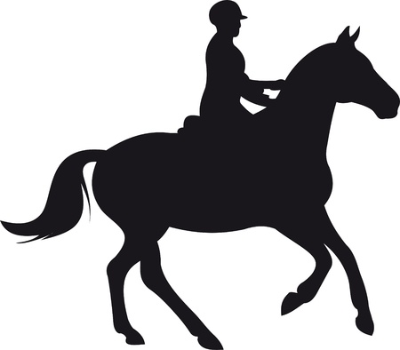 free riding: horse silhouette vector