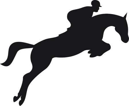 caballo saltando: vector silueta de caballo