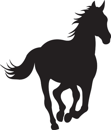 horses in the wild: horse silhouette vector