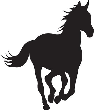 horse tail: vector silueta de caballo