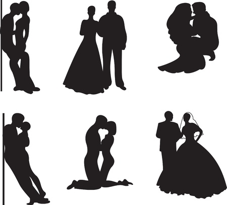 Couple Silhouette. Vector set Vector