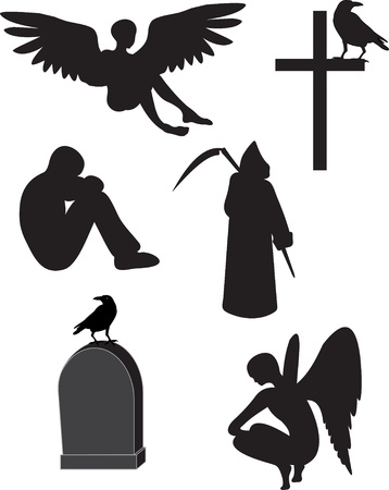 grief: Death vector set Illustration