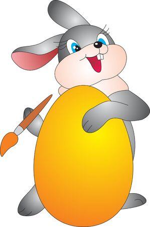 arbol de pascua: Huevo y conejo. Ilustración de Pascua
