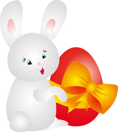 Egg and Rabbit. Easter Illustration illustration