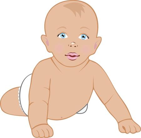 Baby arrastrándose, aislados en blanco