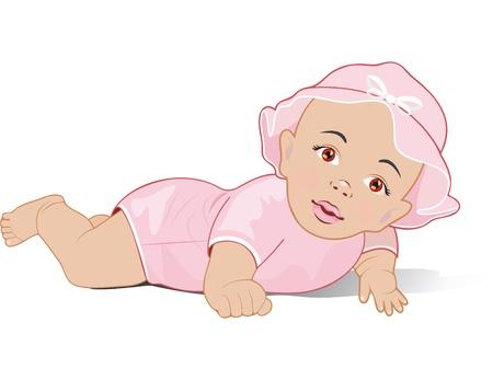 Ein Baby-Mädchen liegen auf dem Bauch