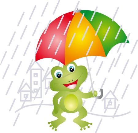 Frog under umbrella Vector