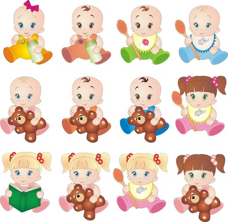 Baby vectors isolated on white background collection Vector