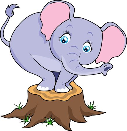 Cartoon cute baby elephant terrified on tree stump.