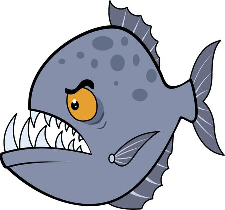 Picture evil piranha. Vector illustration eps. Hungry piranha 스톡 콘텐츠