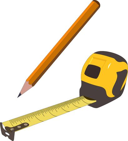 Pencil and measuring tape illustration. Project design concept vector Illustration