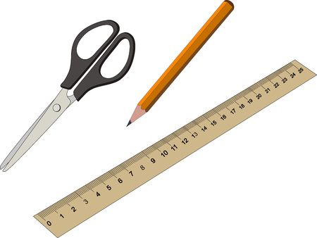 Stationery Office and School Items Set Collection including pencil scissors ruler on white background. Vector