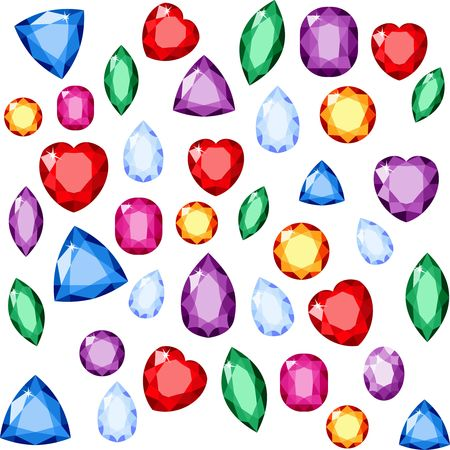 Set of realistic jewels. Colorful gemstones. Vector gemstone Illustration Ilustração