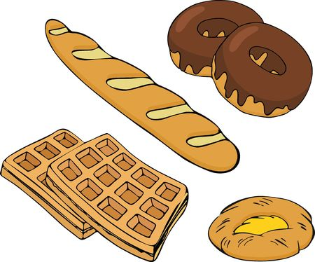 Bakery vectors set. Bakery shop and baked goods collection isolated vector illustration