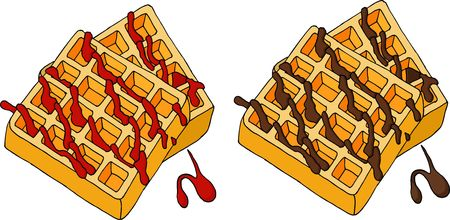 Waffles topped with berry syrup and chocolate. Vector illustration. Illustration