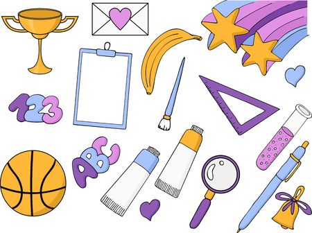 Freehand drawing school items on a white background. Back to School. Vector illustration. Set  イラスト・ベクター素材