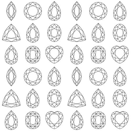 Monochrome seamless pattern with gemstones, mineral crystals, natural stones with black contour lines on white background. Vector illustration