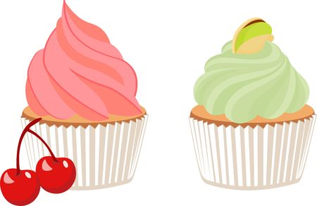 Vector cartoon illustration of pistachio cupcake decorated with cherry isolated on white background