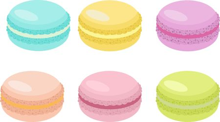 Cake macaron or macaroon on white background, colorful almond cookies, pastel colors. Vector Illustration. Ilustrace