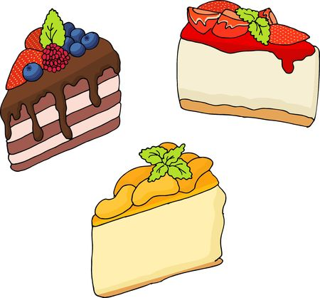 Raster illustration of various cakes and pastries isolated on white.