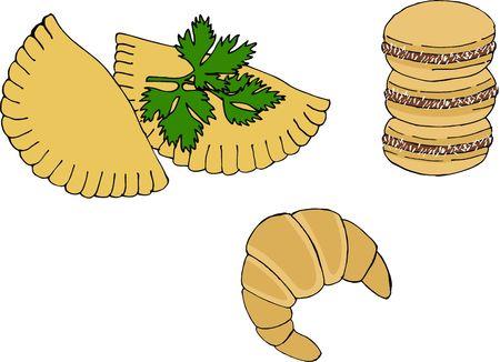 Argentine national cuisine such as empanadas, alfajor cookies and medialuna. Stock Photo