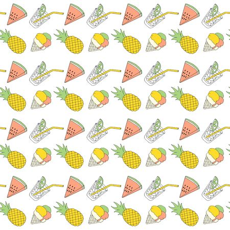 Colorful summer seamless pattern with tropical fruits and ice cream. Raster Illustration on white background. Stock Photo