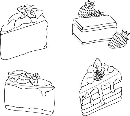 Rasterillustration of various cakes and pastries isolated on white.