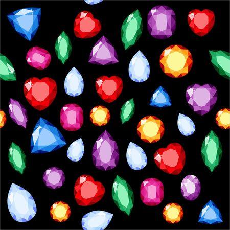 Set of realistic jewels. Colorful gemstones. Raster gemstone Illustration on black background