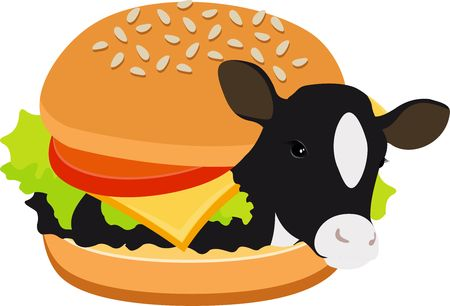 Cow burger of beef burger. Cow inside a hamburger. Concept of vegetarianism, veganism