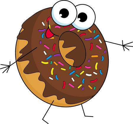 Funny donut character with chocolate glazing and sprinkles, cartoon style vector illustration on white background. Cute smiley donut character with eyes, hands and legs