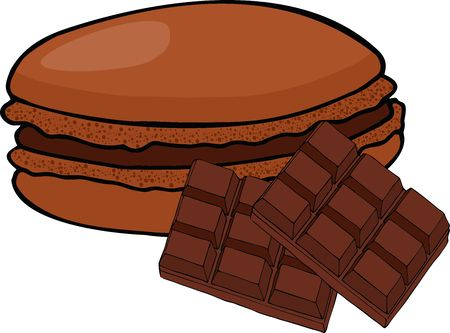 Chocolate or coffee taste french macarons or macaroons isolated. Vector illustration on white background 矢量图像