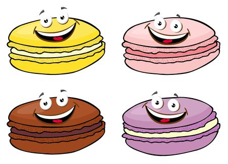 Cake macaron or macaroon Vector Illustration set, colorful almond cookies, pastel colors. Funny cartoon character illustration.
