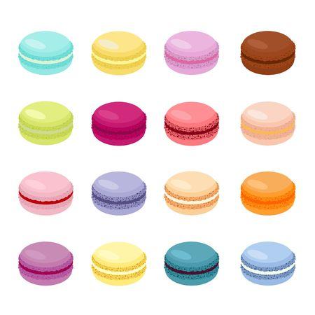 Süße Kuchenmakrone oder Makronen-Vektor-Illustration, bunte Mandelplätzchen, Pastellfarben. Makronen isoliert auf weißem Hintergrund Vektorgrafik