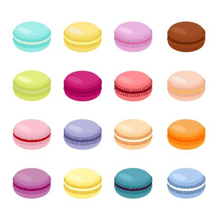 Sweet Cake macaron or macaroon Vector Illustration, colorful almond cookies, pastel colors. Macaroons isolated on white background