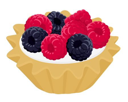 Dessert cake tartlet with cream, raspberry and blackberry. Vector illustration isolated on white wooden background