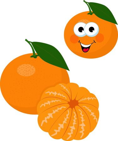 Mandarin, tangerine, clementine with leaves isolated on white background. Funny cartoon character. Raster Illustration on white background Stock Photo