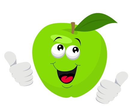Cartoon Apple Character Giving Thumbs Up. Vector illustration on white background Reklamní fotografie - 119625659