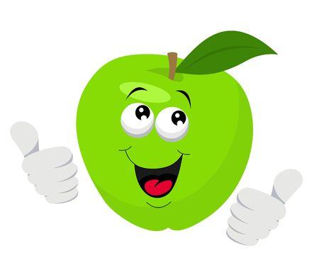 Personaggio dei cartoni animati di mela che dà i pollici in su. Illustrazione vettoriale su sfondo bianco
