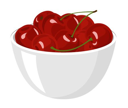 Cherry. Big Pile of fresh red cherries in the White Bowl. Vector illustration Isolated on the White Background