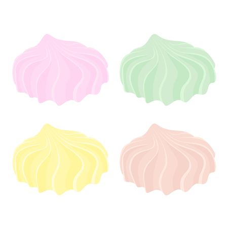 Set of different cartoon varicolored meringues. Zephyr. Dessert. Raster illustration.