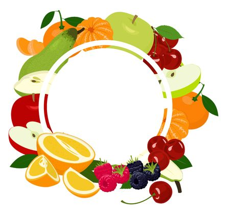 Fruits background frame. Assorted colorful fruits arranged in a circle on the white background, copy space for text in the middle. Vector illustration Vettoriali