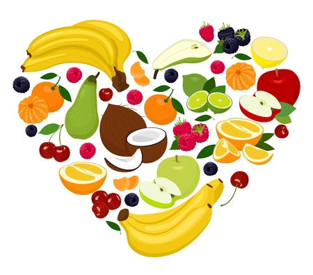 Heart shape by various fruits. Heart of coconut, pear, lime, raspberry, blackberry, apple, cherry, mandarin, banana, orange, grapefruit. Vector