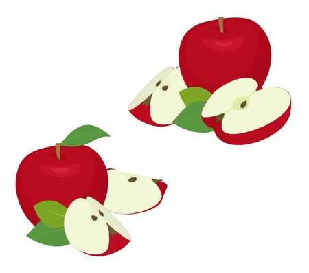 Apple pieces set. Whole red apple fruit with slice ,cut, with leaves isolated on white background as package design element.