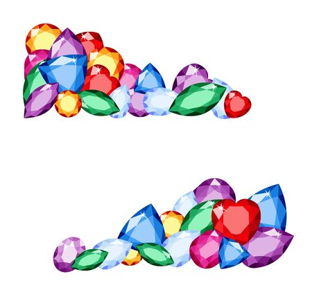 Gems. Colorful collection of different gemstones with space for text on white background amethyst, citrine, ruby and topaz. Raster illustration