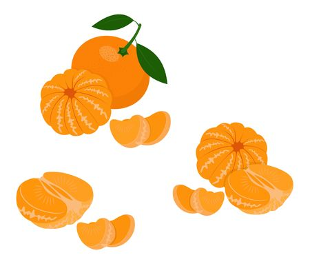 Mandarin, tangerine, clementine with leaves isolated on white background. Citrus fruit. Raster Illustration Stock Photo