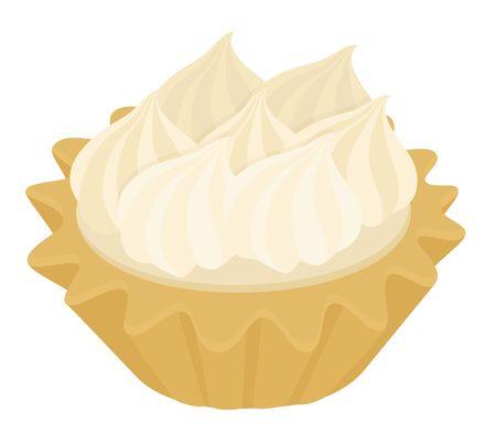 Desert Tartlet cake with Italian meringue and lemon cream. Raster illustration on white background