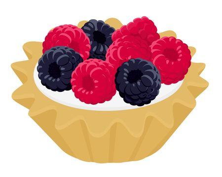 Dessert cake tartlet with cream, raspberry and blackberry. Raster illustration on white wooden background