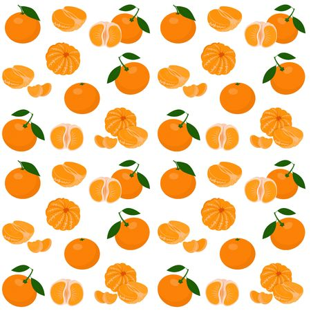 Mandarin, tangerine, clementine with leaves isolated on white background. Citrus fruit background. Seamless pattern. Raster Illustration Stock Photo